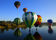 Balloons Posters - Colorful Landings Poster by Mike  Dawson