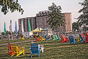 Buffalo Naval Park Posters - Colorful Lawnchairs Poster by Jim Lepard