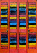 Doors Drawings Prints - Colorful Louvre Doors Print by Patricia Januszkiewicz