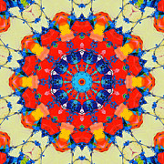 Flower Kaleidoscopes Posters - Colorful Mandala Poster by Ana Maria Edulescu