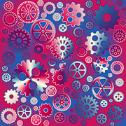 Mechanism Prints - Colorful metallic gears Print by Gaspar Avila