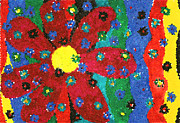 Luciana Raducanu Art - Colorful mosaic flowers by Luciana Raducanu