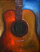 Guitar Strings Painting Originals - Colorful Music by Cathy Dupertuis