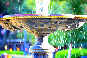 New Orleans Digital Art Posters - Colorful New Orleans Fountain Poster by Carol Groenen
