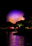 Michelle Prints - Colorful Night at Epcot Print by Michelle Wiarda
