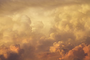 Colorful Cloud Formations Prints - Colorful Orange Magenta Storm Clouds At Sunset Print by Keith Webber Jr