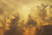 Colorful Cloud Formations Prints - Colorful Orange Yellow Storm Clouds At Sunset  Print by Keith Webber Jr