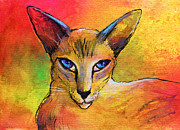 Beautiful Eyes Mixed Media Posters - Colorful Oriental shorthair Cat painting Poster by Svetlana Novikova