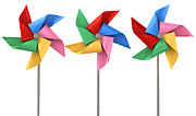 Colorful Pinwheels Isolated Print by Allan Swart