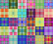 All - Colorful Plaid Diptych Panel 1 by Andee Photography