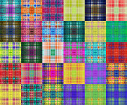 All - Colorful Plaid Diptych Panel 2 by Andee Photography