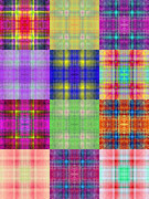 All - Colorful Plaid Triptych Panel 3 by Andee Photography
