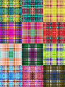 All - Colorful Plaid Triptych Panel 2 by Andee Photography