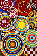 Cutlery Photos - Colorful Plates by Garry Gay