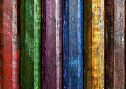 Board Fence Prints - Colorful poles  Print by Carlos Caetano