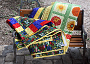 Wood Bench Prints - Colorful Quilts Print by Linda Phelps