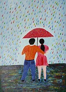 Colorful Rain Print by Jnana Finearts