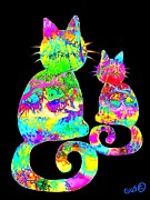 Painted Cat Posters - Colorful Rainbow Painted Cat Poster by Nick Gustafson