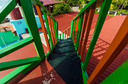 Stair-rail Photos - Colorful Red and Green Staircase by Jess Kraft