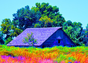 Old Barns Mixed Media Framed Prints - Colorful Rooftop Barn Framed Print by Renie Rutten