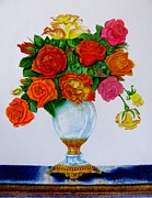 Screen Print Drawings Framed Prints - Colorful Roses Framed Print by Zulfiya Stromberg
