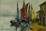 Yellow Sailboats Originals - Colorful Sails by Jennifer Calhoun