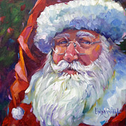 Santa Claus Paintings - Colorful Santa by Linda Smith