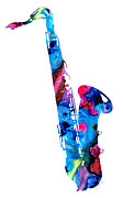 Music Mixed Media Prints - Colorful Saxophone 2 by Sharon Cummings Print by Sharon Cummings