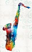 Sharon Cummings - Colorful Saxophone 3 by Sharon Cummings