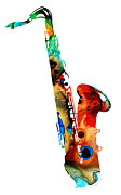 Musical Mixed Media Prints - Colorful Saxophone by Sharon Cummings Print by Sharon Cummings