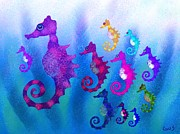 Whimsical Animals  Art - Colorful Sea Horses by Nick Gustafson