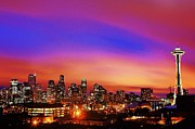 Seattle Skyline Framed Prints - Colorful Seattle Framed Print by Benjamin Yeager