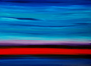 Food And Beverage Paintings - Colorful Shore - Blue And Red Abstract Painting by Sharon Cummings
