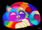 Nick Gustafson - Colorful Sleeping Rainbow Cat