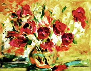 Impasto Posters - Colorful Spring Bouquet - Abstract  Poster by Zeana Romanovna