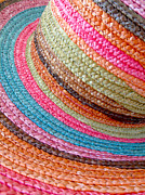 Sun Hat Posters - Colorful Straw Hat Poster by Kitty Ellis