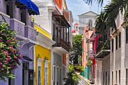Puerto Rico Framed Prints - Colorful Street of Old San Juan Framed Print by George Oze