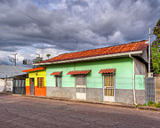 Gold Lime Green Art - Colorful Streets of Costa Rica - Liberia by Mark E Tisdale