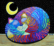 Stars Drawings Posters - Colorful Striped Cat in the Moonlight Poster by Nick Gustafson