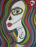 Sugar Skull Drawings Posters - Colorful Sugar Skull Gurl Poster by Toni Margerum