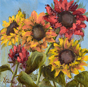 Drippy Painting Posters - Colorful Sunflowers Poster by Vic  Mastis