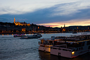 Hill Town Framed Prints - Colorful Sunset in Budapest with a Panoramic view of the river D Framed Print by Kiril Stanchev