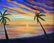 Trees At Sunset Paintings - Colorful sunset by Nancy Chenet