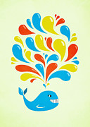 Boriana Giormova Prints - Colorful Swirls Happy Cartoon Whale Print by Boriana Giormova