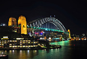 Luna Park Art - Colorful Sydney Harbour Bridge by Night 3 by Kaye Menner