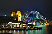 Sydney Harbour Posters - Colorful Sydney Harbour Bridge by Night Poster by Kaye Menner