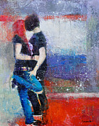First Love Painting Prints - Colorful Teen Together For Ever  Print by Johane Amirault