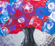 Nature Art Mixed Media Prints - Colorful tree Print by Lyubomir Kanelov