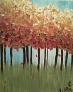 Leaves Sculpture Posters - Colorful Trees Poster by Lisa Collinsworth
