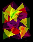 Set Digital Art - Colorful Triangles Geometric Art Designs by Mario  Perez